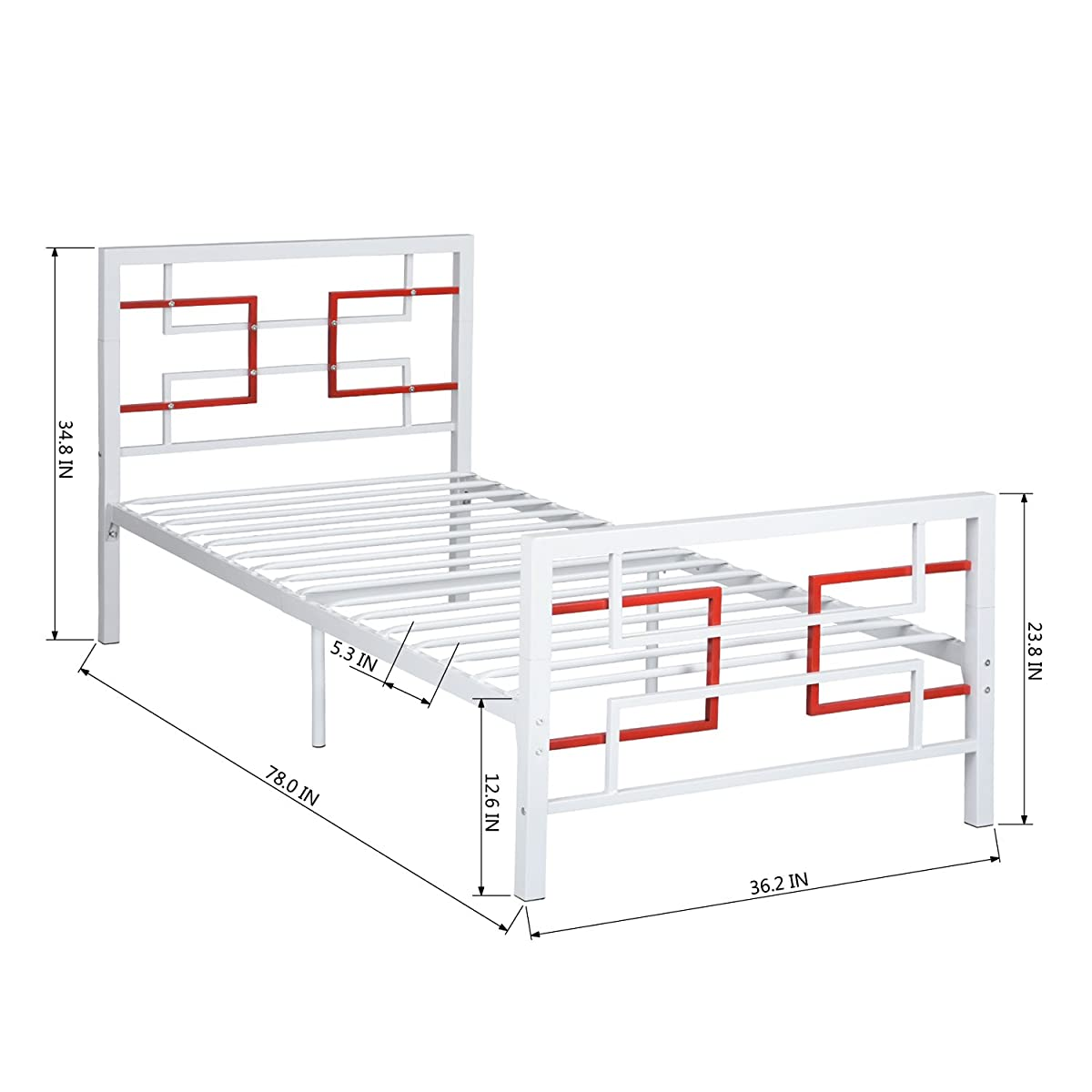 Green Forest Bed Frame Twin Size White, Metal Platform Mattress Foundation Box Spring Replacement with Headboard and Footboard
