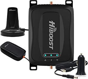 HiBoost Cell Phone Signal Booster for Car, Compatible All US Carriers- Verizon, AT&T, Sprint, T-Mobile on All U.S Cellular Devices (Travel car)