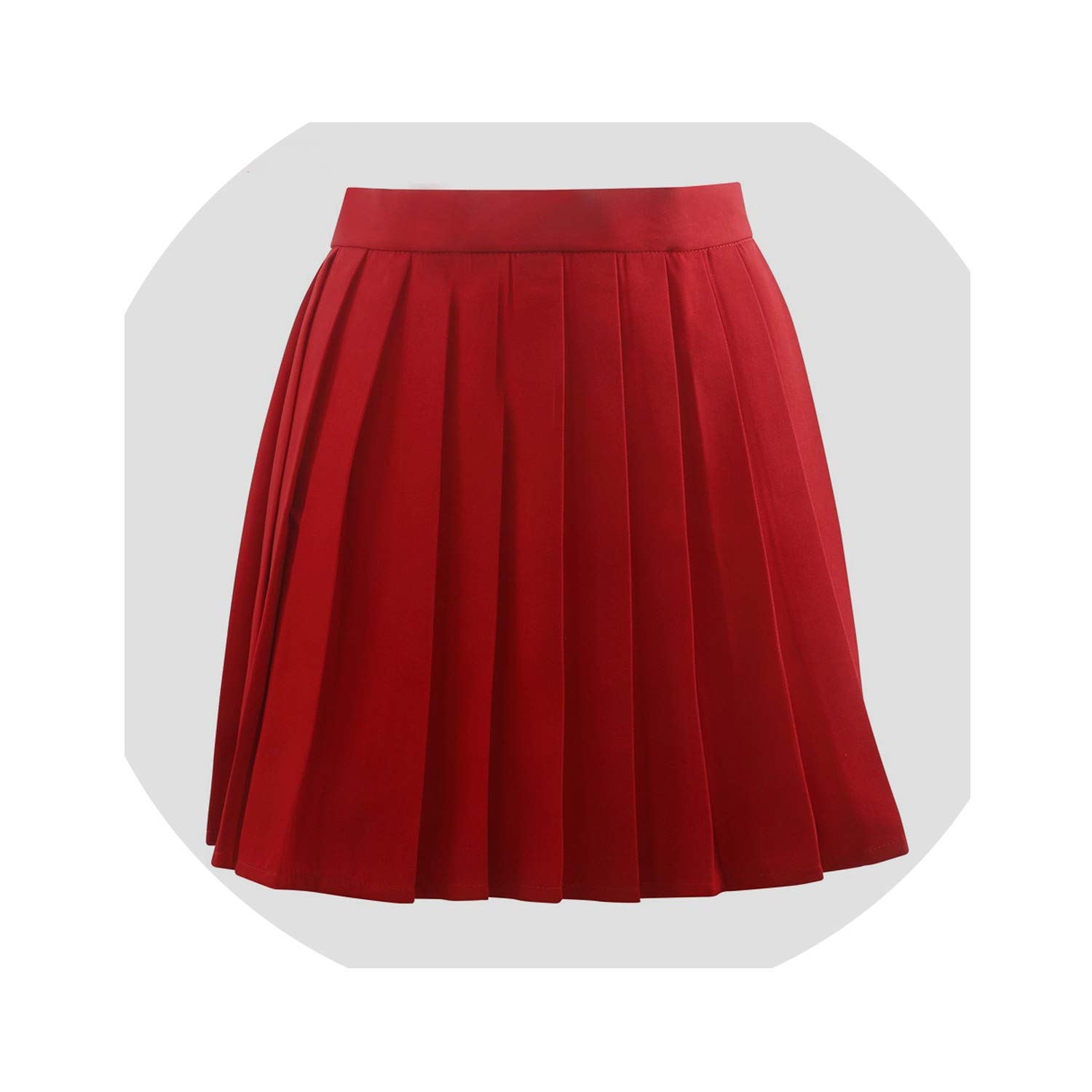 color QIUHUAXIANG Red Pleated Skirts Summer Female apan Clothing Harajuku Uniform Skirt Women