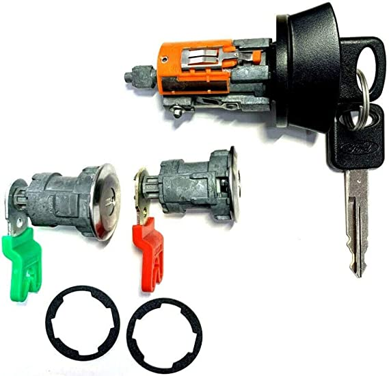 NEW FORD OEM IGNITION SWITCH LOCK CYLINDER PAIR DOOR LOCK W//2 H84-PT CHIP KEYS