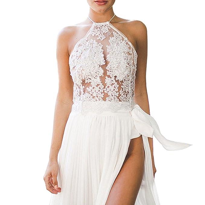 De la Mujer Moda halter bordado Encaje Chaleco Top blanco blanco Small