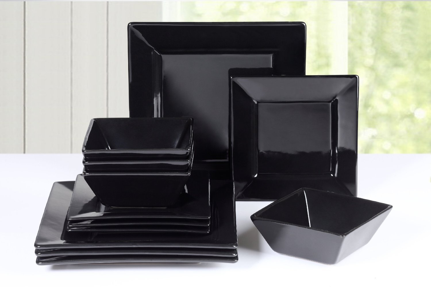 12 Piece Soho Square Dinner Set (black) Waterside Fine China