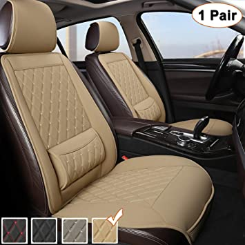 Black Panther 1 Pair Luxury PU Leather Front Car Seat Covers Protectors Pads with Lumbar Supports, Universal Fit 95% Vehicles - Beige
