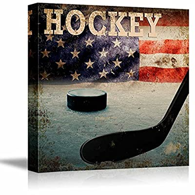Rustic Hockey - Stick and Puck Vintage Wood Grain - Canvas Art Home Art - 12x12 inches
