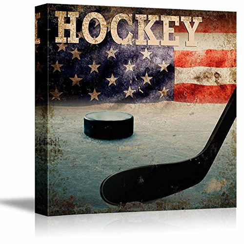 Rustic Hockey Stick and Puck Vintage Wood Grain