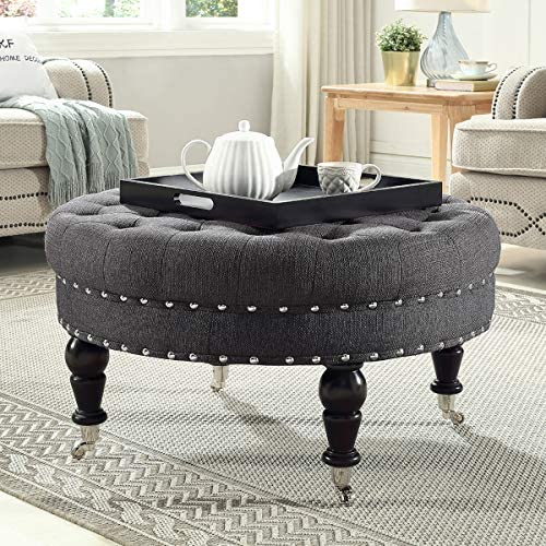 24KF Large Round Upholstered Tufted Button Linen Ottoman Coffee Table, Large Footrest Bench with Caters Rolling Wheels-Charcoal Gray