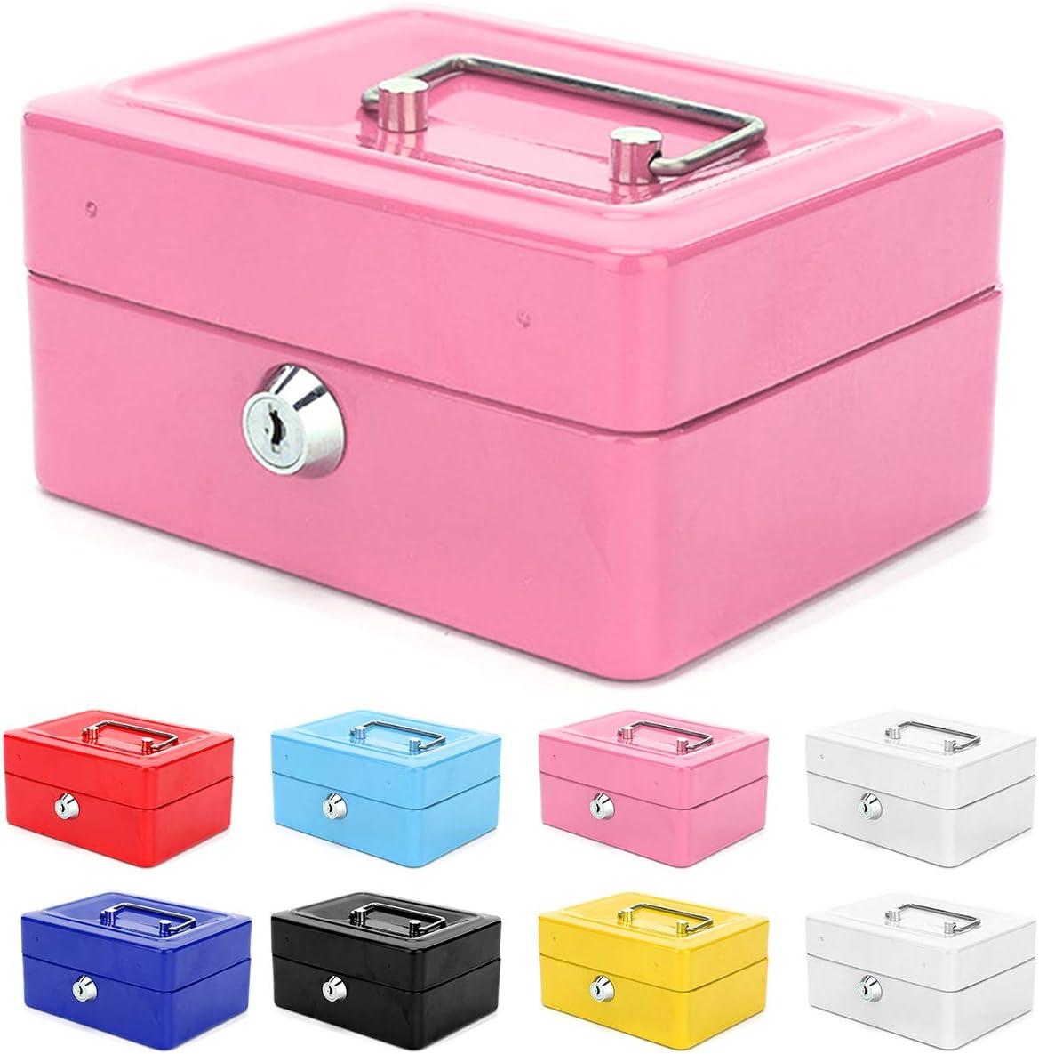 Caja de dinero con bandeja, pequeña caja de metal con cerradura con llaves, joyas, caja de almacenamiento de seguridad, rosa: Amazon.es: Oficina y papelería