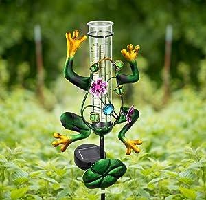 Litake Frog Rain Gauge Outdoor Decorative Metal Solar Rain Gauges Stake for Garden Yard, 6 Inch Capacity Plastic Tube and LED Light