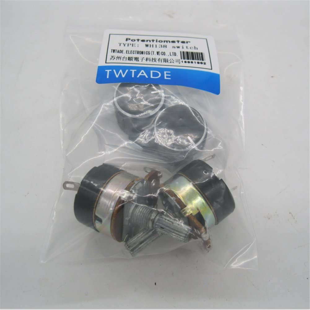 2pcs Black Aluminum Alloy knob TWTADE 2Pcs 500K Ohm Single Linear Taper Dimmer Potentiometer with on//Off Switch
