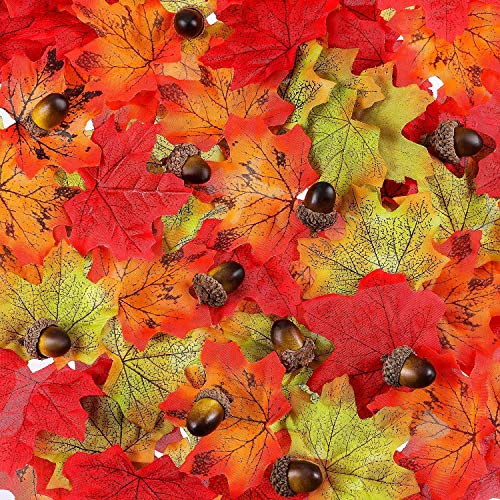 SunAngel Artificial Maple Leaves Fall Leaves Silk Leaves (150 Pieces)&50 Pieces Craft Acorns Artificial Acorn Decor Fake Fruit Props Acorns Decoration for DIY Home Party -