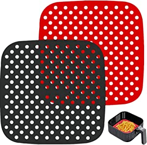 Apluskis Reusable Air Fryer Liners, Square 2 pack, Non-Stick Silicone Mats, Air Fryer Basket Mats, Air Fryer Accessories For Cosori, NuWave, Chefman, Dash - BPA Free(7.5 inch)
