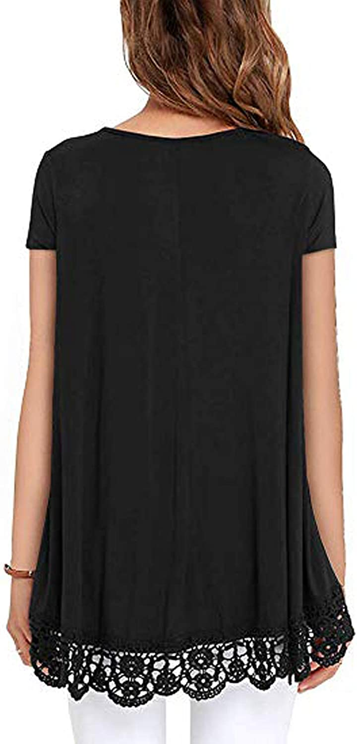 ZHENWEI Women Tops Short Sleeve /& Long Sleeve Lace Gradient Trim O-Neck A-Line Tunic Loose Blouse