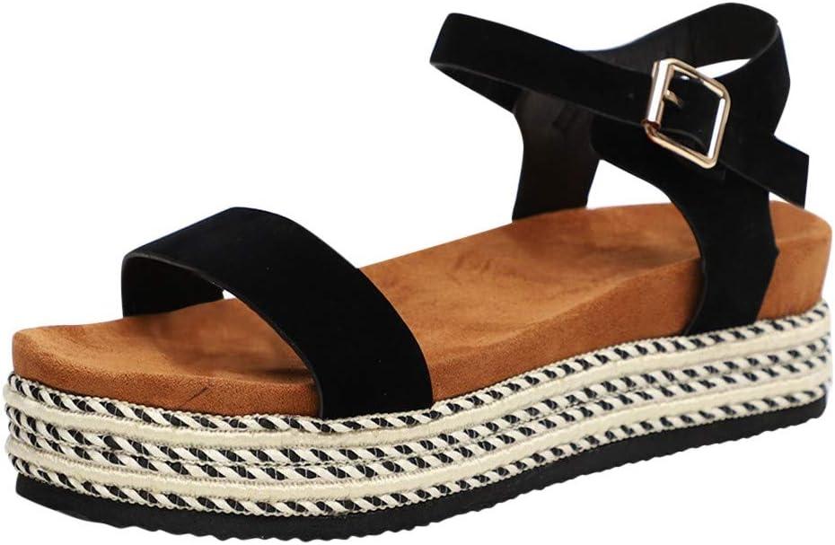 AG&T Zapatos de Lona Planos para Mujer con Hebilla y Hebilla en Punta cuña Sandalias de Verano más tamaño Sandalias de Playa: Amazon.es: Deportes y aire libre