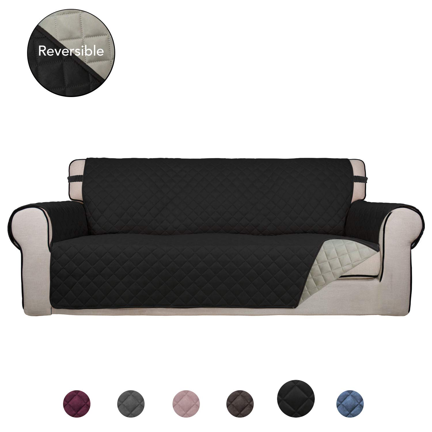 PureFit Reversible Quilted Sofa Cover, Water Resistant Slipcover Furniture Protector, Washable Couch Cover with Anti-Slip Foam and Elastic Straps for Kids, Dogs, Pets (Oversized Sofa, Black/Beige)