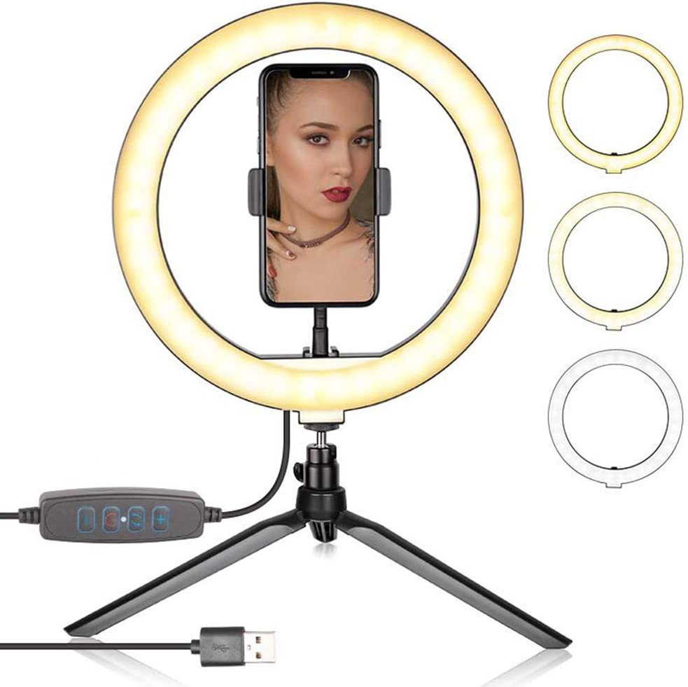 """HSART LED 7.8"""" Desktop Selfie Ring Light for YouTube Video/Live Stream/Makeup/Photography with Tripod Stand Remote Control 10 Brightness Level 3 Light Modes and 80 Bulbs 6000K"""