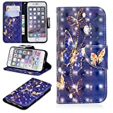 for iPhone 6/6S Wallet Case and Screen Protector,QFFUN Glitter 3D Pattern Design [Purple Butterfly] Magnetic Stand Leather Phone Case with Card Holder Drop Protection Etui Bumper Flip Cover