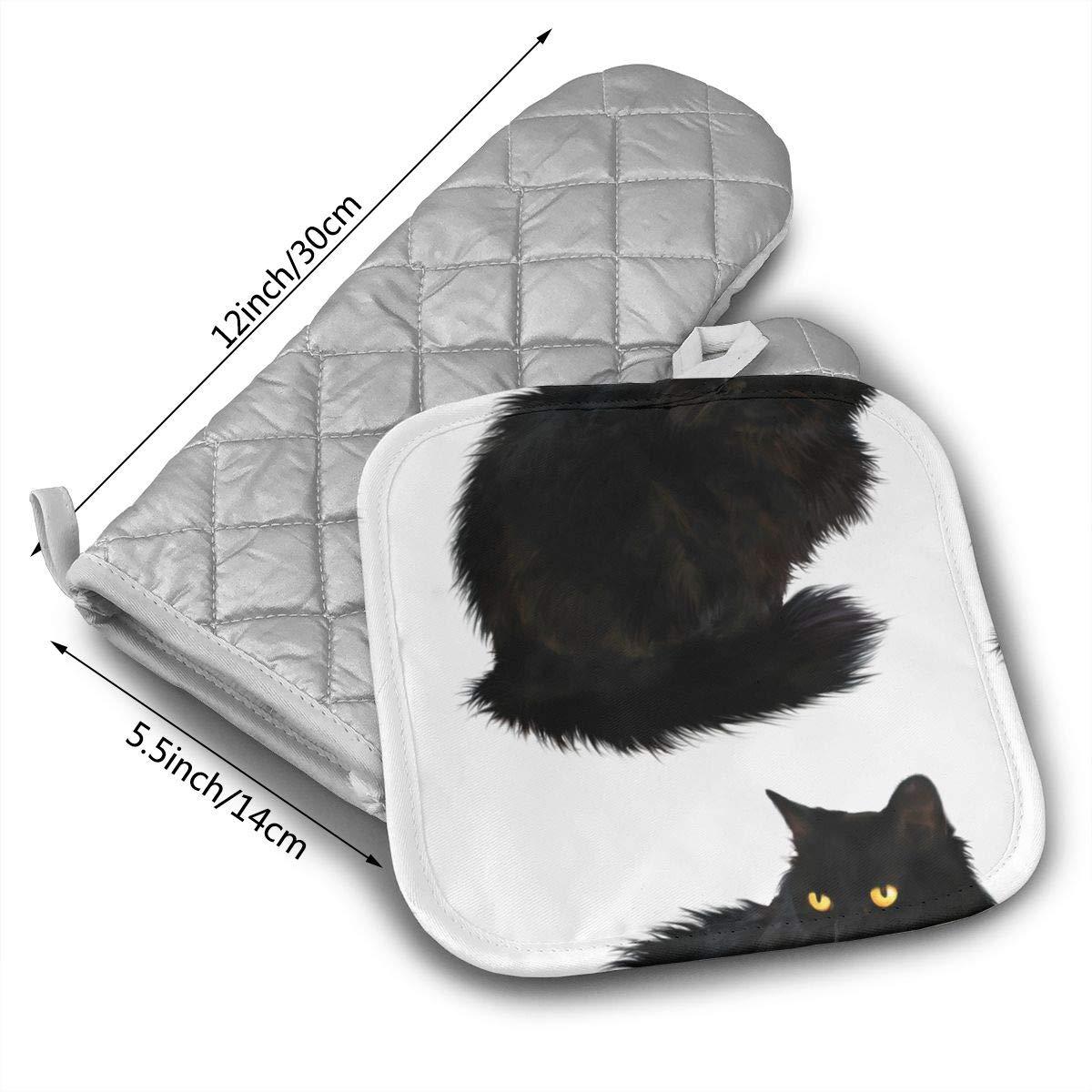 Amazon.com: UFKEOJ Halloween Black Cat Oven Mitts,BBQ ...