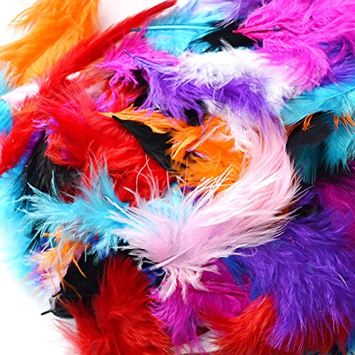 C-Pioneer Pack 200 Fluffy Marabou Feathers Card Making Embellishments for Arts and Crafts Decoration (Fluffy Marabou Feathers)