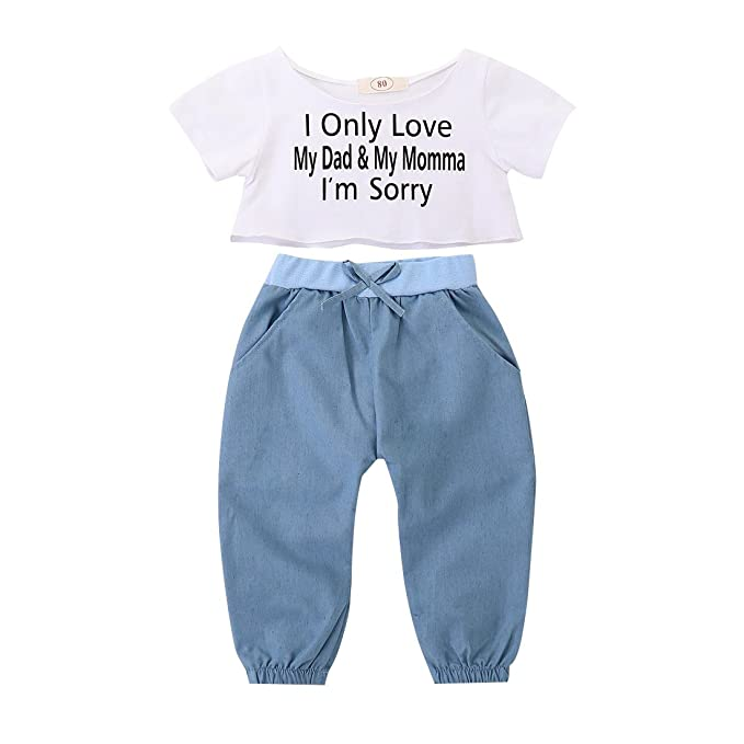 7a4e7990a76f Toddler Baby Girls Clothes Relaxed Split T Shirt Crop Top + Denim Bowknot  Loose Leggings Long