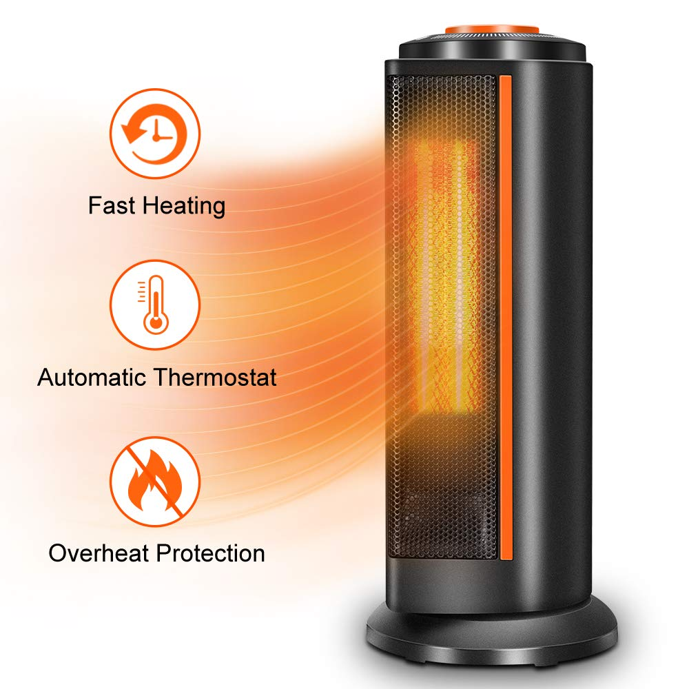Space Heater for Office - 1500W Electric Ceramic Heater Fan Tower Oscillating Portable Heater with Thermostat, Fast Heating, Overheat & Tip-over Protection, Personal Heaters for Indoor Use