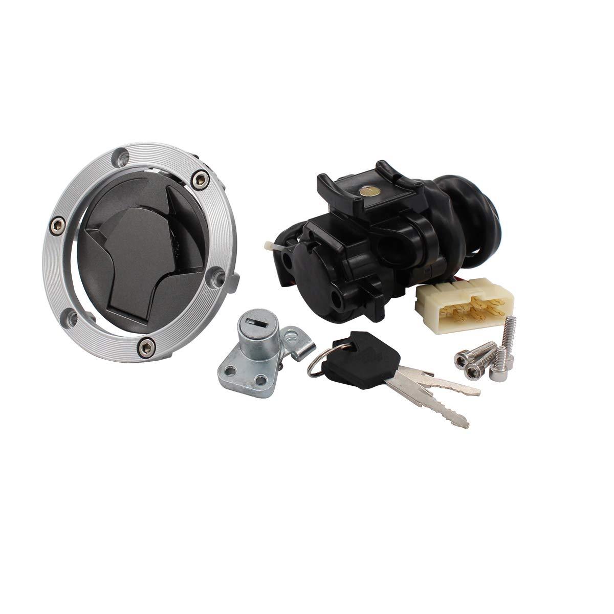 NewYall Ignition Switch Lock & Fuel Gas Cap & Steering Lock & 4 Screws & 2 Keys Set by NewYall