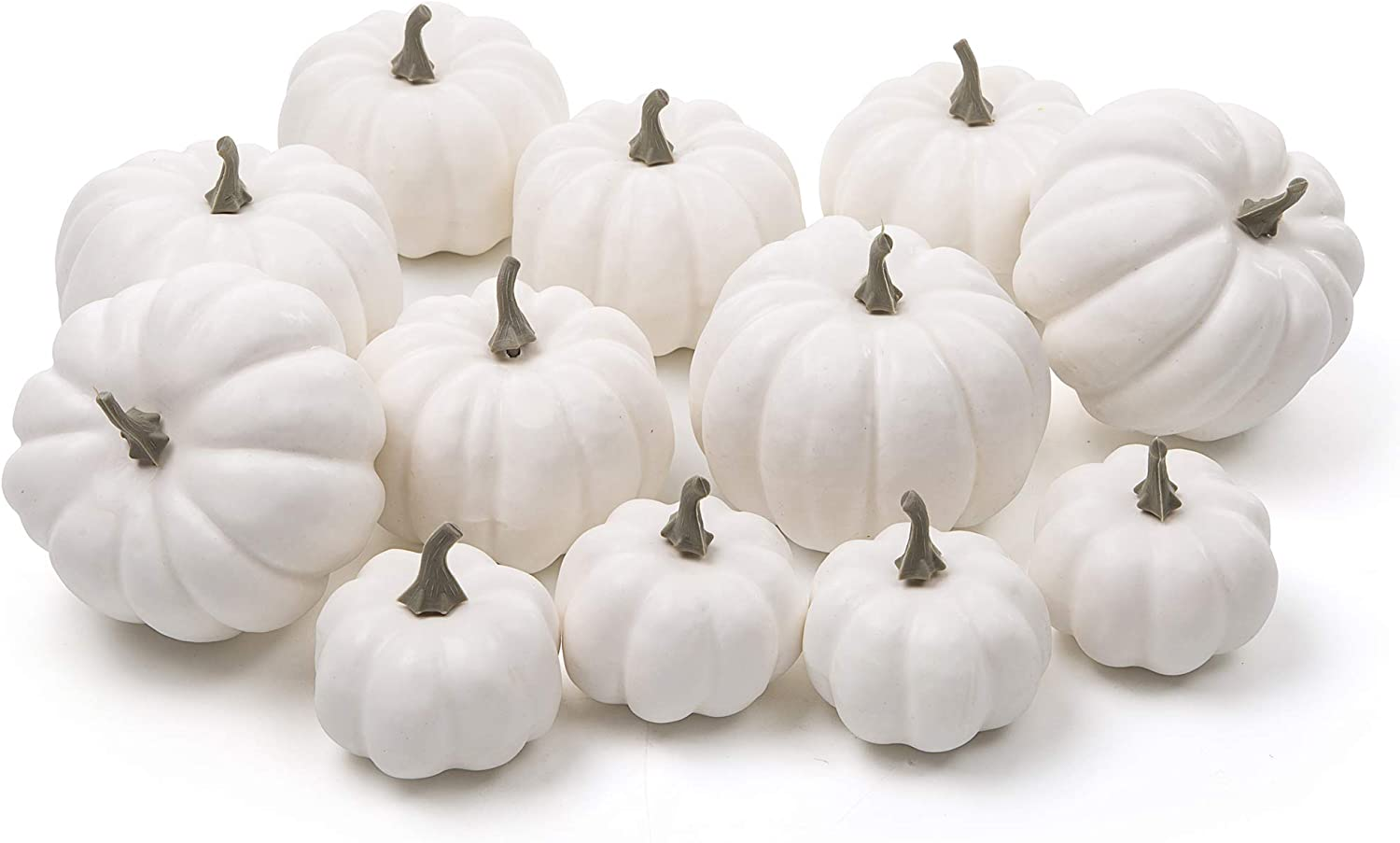Ogrmar 12 Pack Artificial Assorted Pumpkins, Mini Fake Pumpkins Artificial Vegetables for Halloween,Harvest Thanksgiving Party Decor (White)
