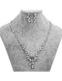 Leaf Cubic Zirconia Bridal Jewelry Sets Silver Color Rhinestone Necklace Wedding Engagement Jewelry Sets for Women