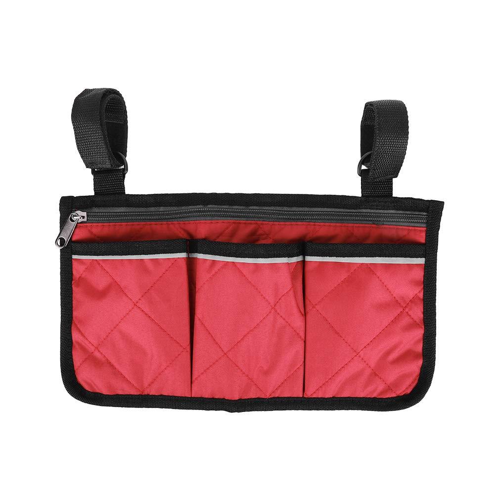 Bolsa lateral para silla de ruedas, Scooter multifuncional para silla de ruedas, reposabrazos, bolsa lateral Walker, bolsa colgante, organizador de almacenamiento para la mayoría de(Vino rojo)