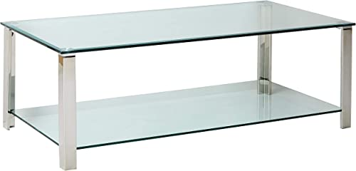 Cortesi Home Melissa Double Shelf Glass Coffee Table Chrome Glass