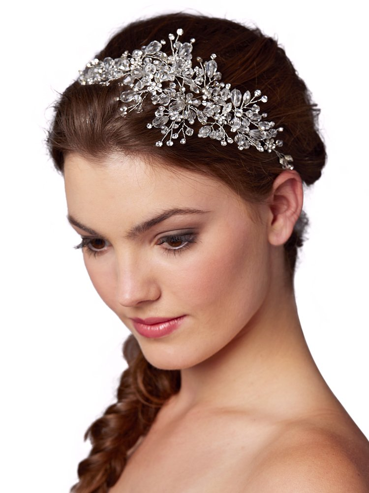 Mariell Couture Crystal Spray Bridal Headpiece Hair Vine - Wedding Hairband Glam
