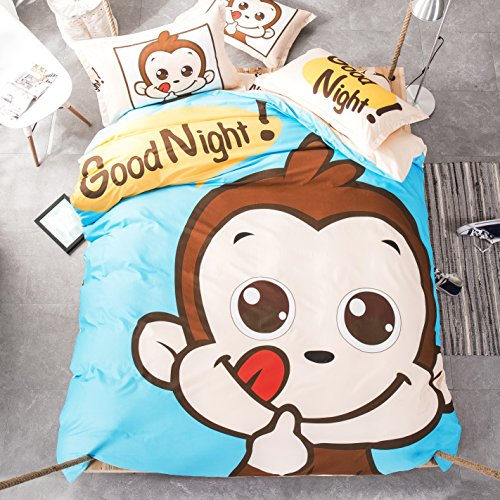 Mumgo Home Bedding Sets for Kids 100% Cotton Cute Cartoon Animal Good Night Print Duvet Cover Set Full/Queen Size 4 Piece -Not Include Comforter (Little Monkey)