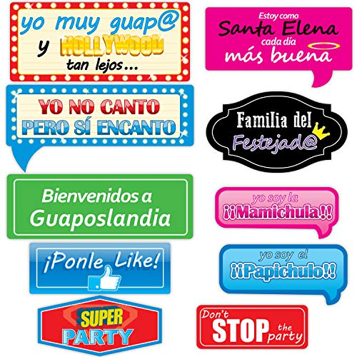 Birthday Photo Booth Props – 10 pieces, Ready to use for Birthday, Baby Shower, for Party or any event, Signs and Decorations, Big Signboard, Funny placard, ideas for Birthday, Spanish -