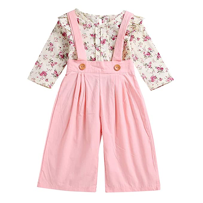 4c37482f0 Toddler Baby Girls Floral Ruffles Shirt Top + Suspenders Overalls Pants  Outfits Set (Floral+