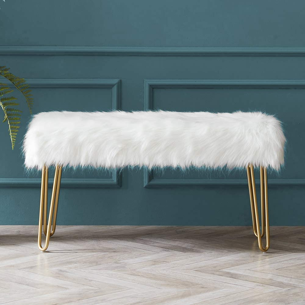 Modern Rectangular Ottoman Foot Rest Stool - Luxurious Faux Fur Covered Seat w/Sturdy Gold Hairpin Legs - Easy Assembly Accent Furniture Perfect for Use in Any Room - White Color