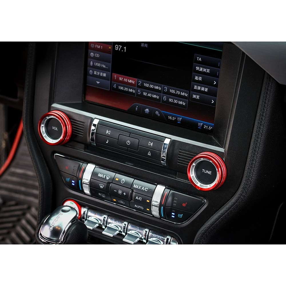 TopDall Sporty Red Aluminum Center Console Volume Tune Knob Cover Ring Trim Interior Accessories for Ford Mustang 2015-2019