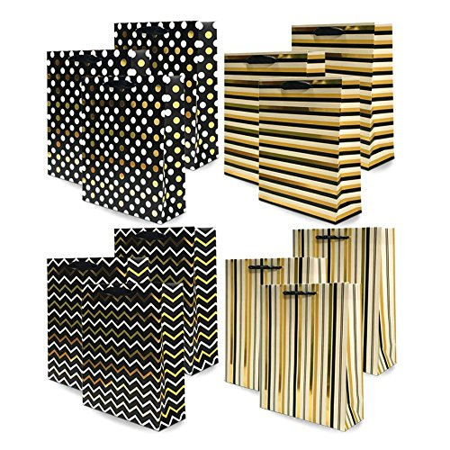 UNIQOOO 12Pcs Premium Large Black Gold Foil Metallic Gift Bags Bulk,12.5x10.5X4'' 100% Recyclable Kraft Paper Retail Shopping Bags,Ribbon Handle/Wedding,Bridal Shower,Birthday Party,Holiday Gift