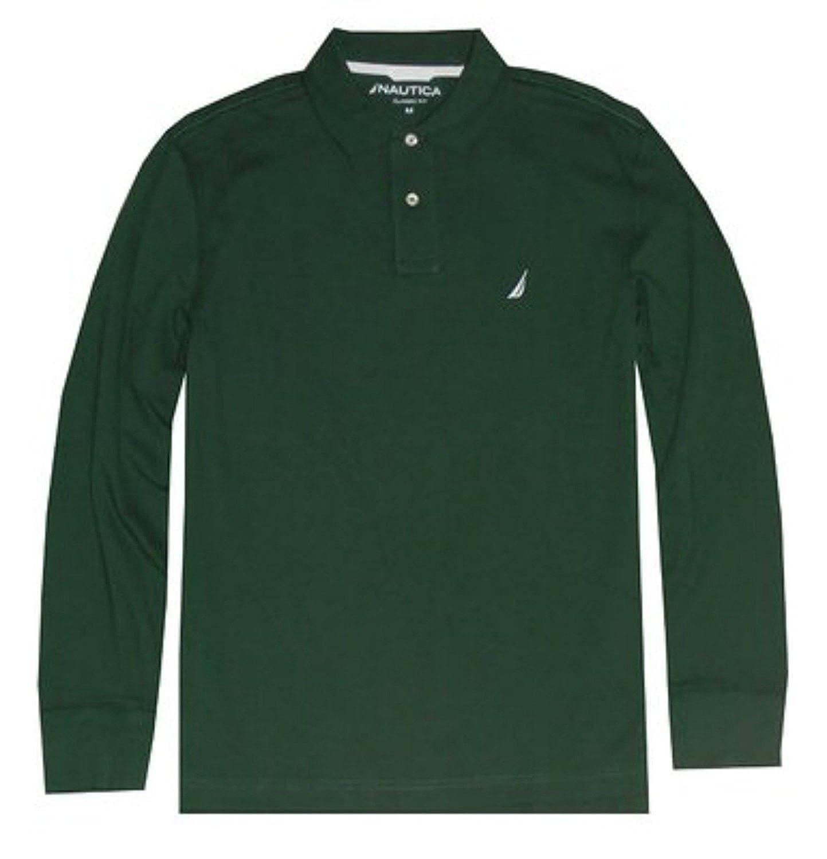 Nautica Men Classic Fit Long Sleeve Logo Polo Pique T-Shirt