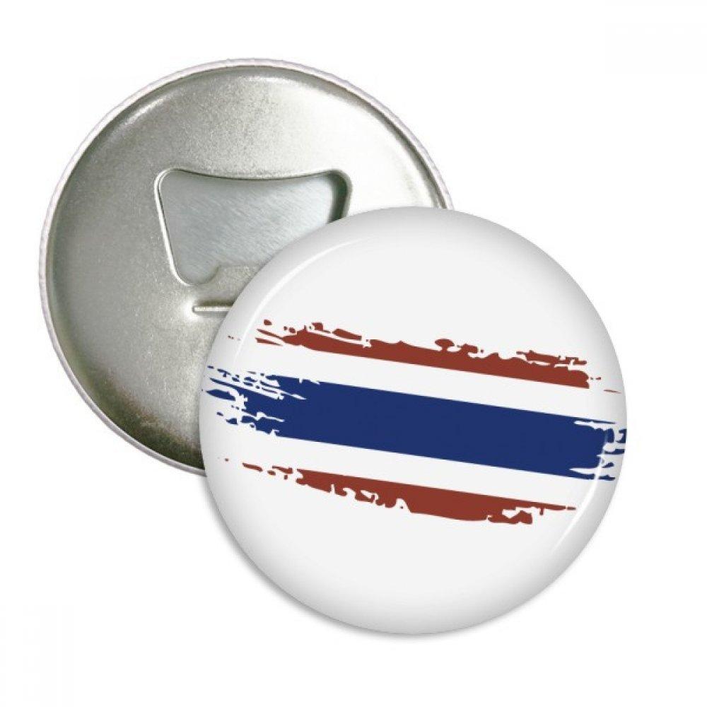 Thai Bangkok Thailand Flag Art Illustration Round Bottle Opener Refrigerator Magnet Pins Badge Button Gift 3pcs