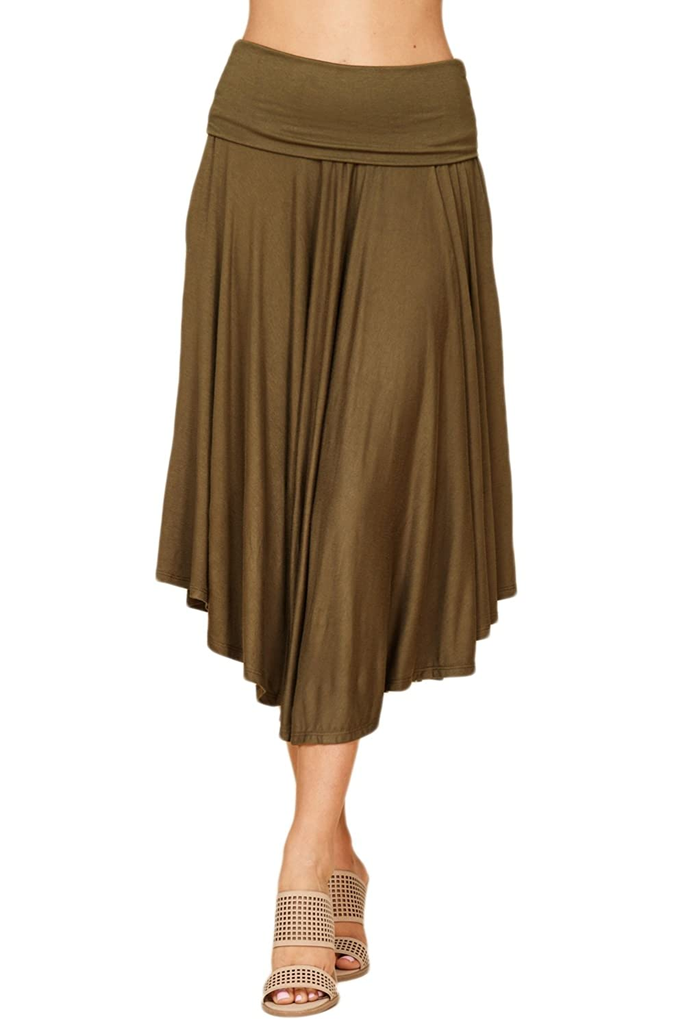 Womens Fold Over Waistband Comfy A Line Flowly Midi Skirts with Side Pockets