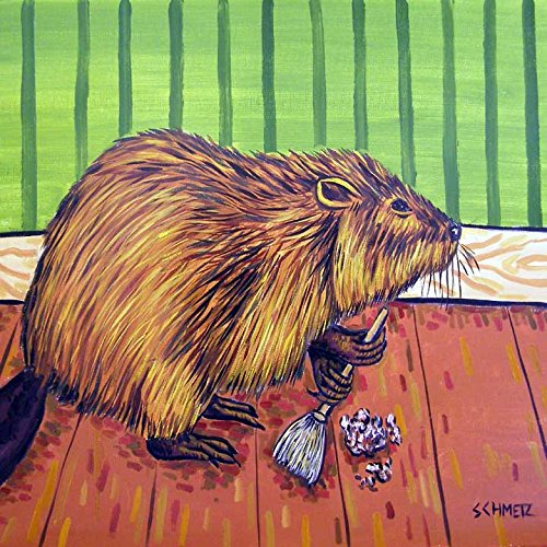 - Beaver Spring Cleaning kitchen animal decor art tile coaster gift