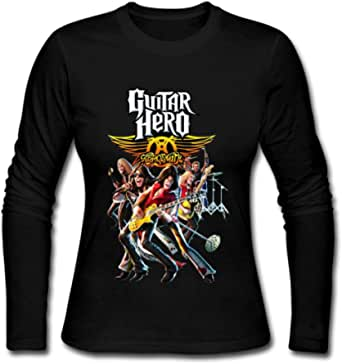 Duanfu DIY Aerosmith Guitar Hero Women's Long Sleeve Tops Sweatshirt Loose Cotton Crew Neck T-Shirt