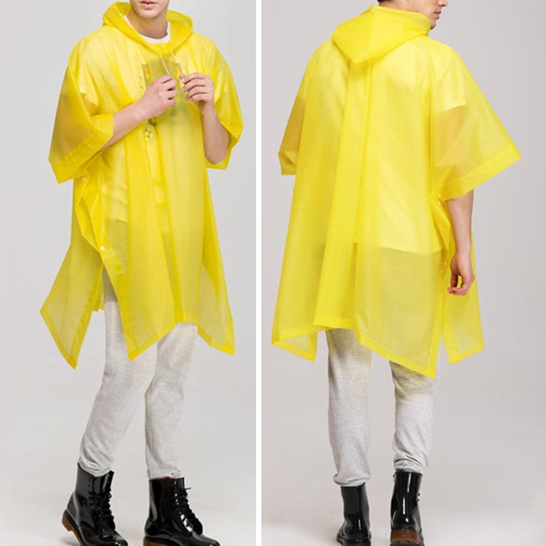 Zhhlaixing 2 Pcs Yellow Reusable EVA Waterproof Poncho Adult Portable  Hooded Raincoat: Amazon.co.uk: Clothing