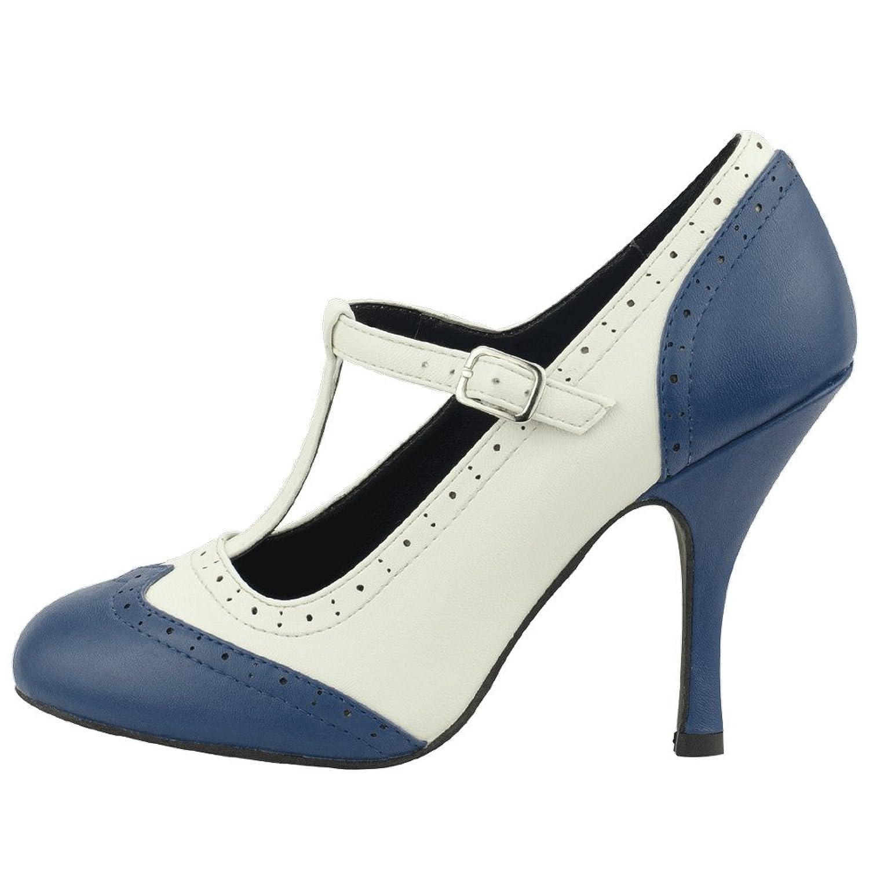 T.U.K. Shoes Women's Navy & Cream Wingtip T-Strap Bombshell Heels EU36 / UKW3 hxkdc6RyyF