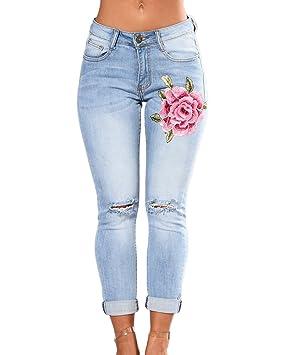 Guiran Mujer Casual Cintura Alta Delgado Fit Lápiz Denim Pantalones  Vaqueros Boyfriend Rotos Tejanos Pantalones Celeste 54718712f6fb