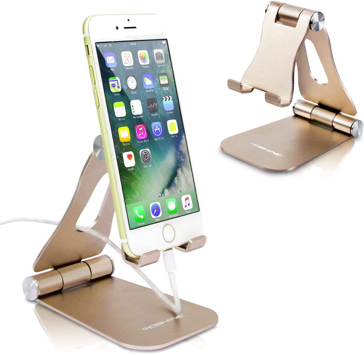 Cell Phone Stand Foldable YoShine Aluminum Phone Holder Phone Stand and Cable Organizer for Charging Desktop Cell Phone Holder Adjustable Phone Stand Dock for iPhone iPad/Mini Samsung Tablets - Gold