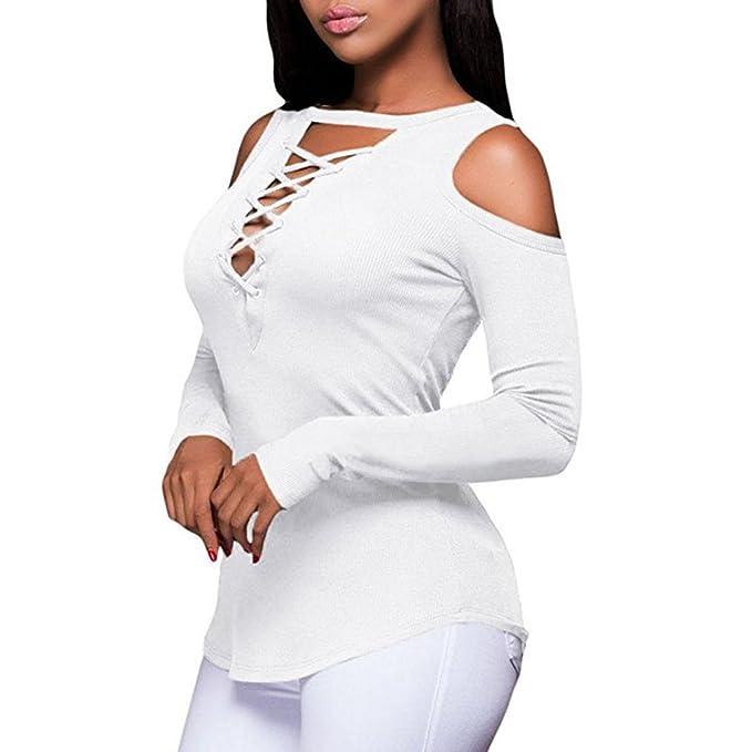 Mujer Otoño/Primavera Casual Camisa, WINWINTOm Mujer Moda Sin Tirantes V-Cuello Vendaje