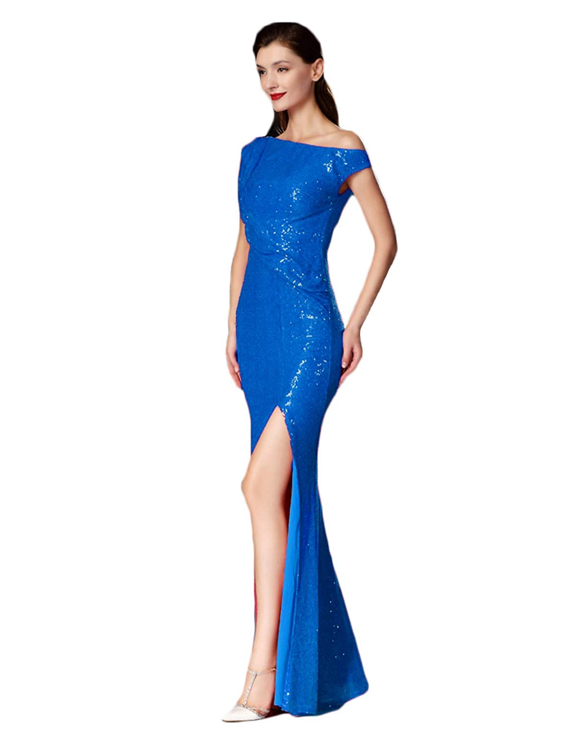 bluee a CIRCLEWLD Sweetheart Ruched Sequin Gown with Side Slit Long Prom Evening Dresses Bridesmaid Dress E195