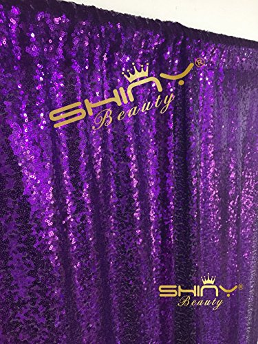 ShinyBeauty 4FTx7FT Sequin backdrops,Purple Sequin photo boo