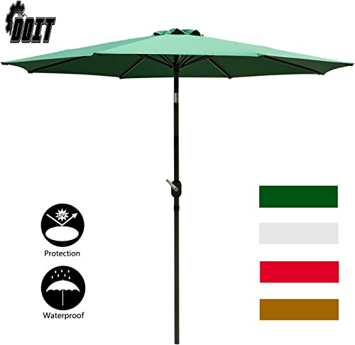 DOIT 9ft Patio Table Umbrella with Crank and 8 Ribs,Tilt Adjustment Outdoor Umbrella with Fade Resistant Water Proof Fabric and Push Button Polyester Canopy Without Base