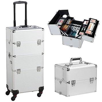 f972d5e1e Yaheetech Maletín de Maquillaje Profesional Organizador Cosméticos Caja de  Belleza 36 x 24 x 106,5 cm Plata: Amazon.es: Hogar